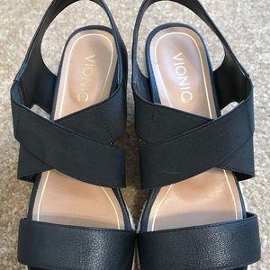 Vionic ainsleigh jute wedge heel 8.5 black sandal
